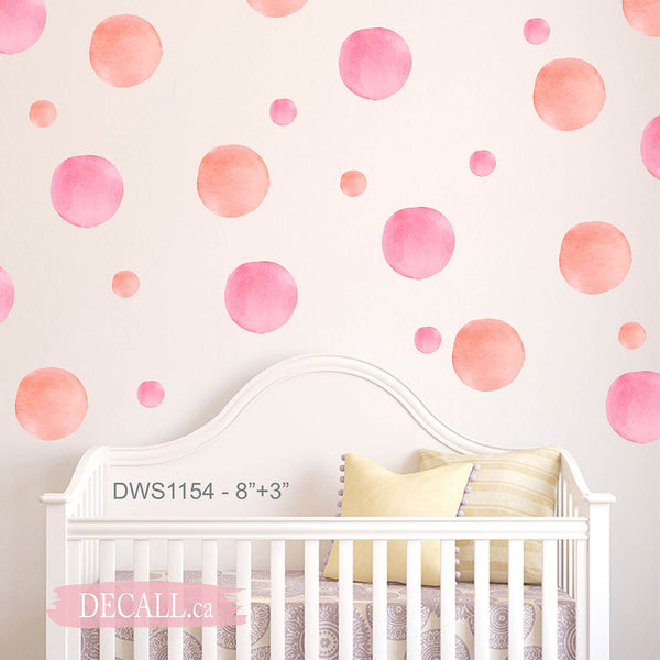 Reusable Watercolor Polka Dot Wall Decals - Peel & Stick Pastel Coral Pink Wall Stickers - DWS1154