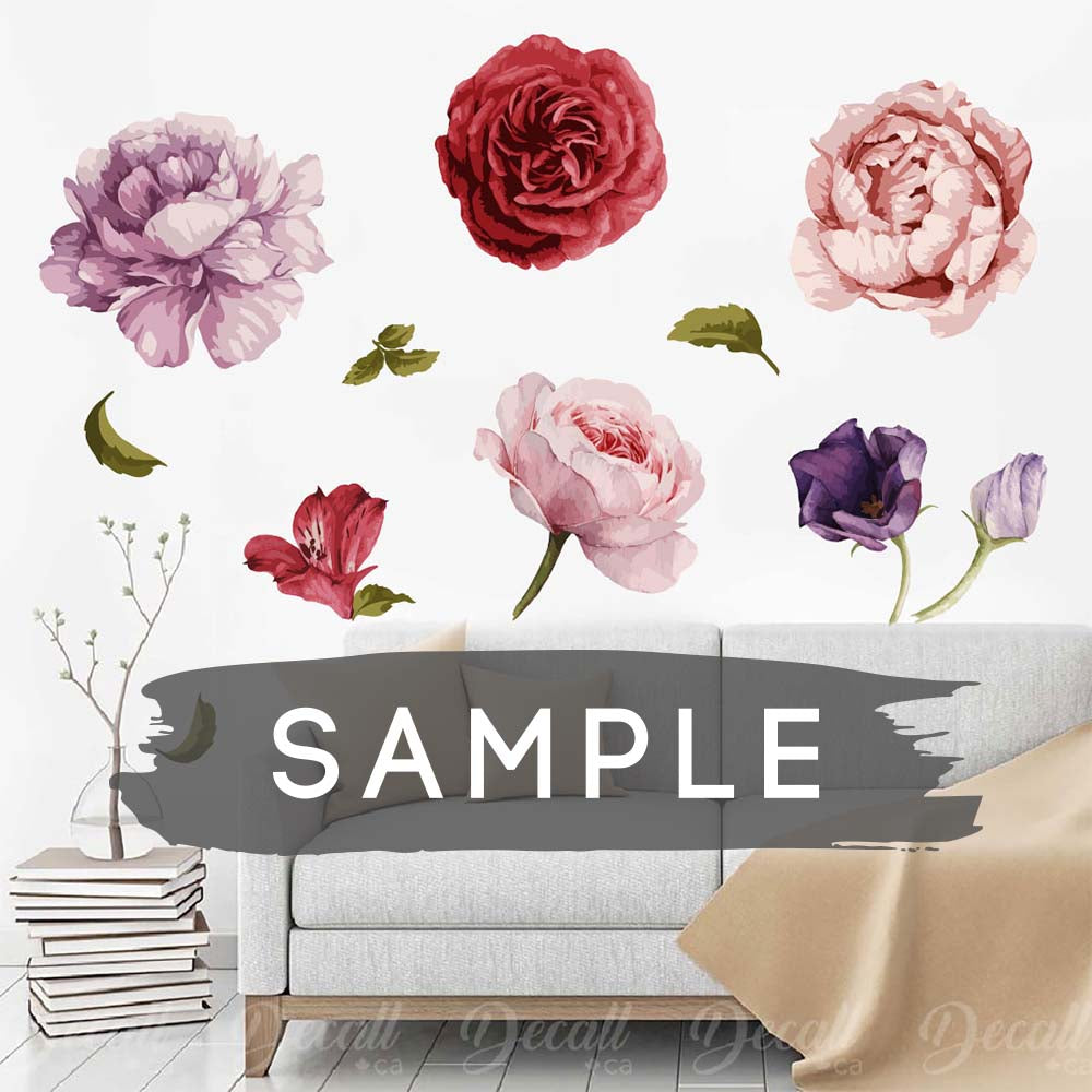 SAMPLE of Beautiful Flower Wall Decals - Flower Wall Stickers - DWS1039 - Wall-Stickers - Decall.ca