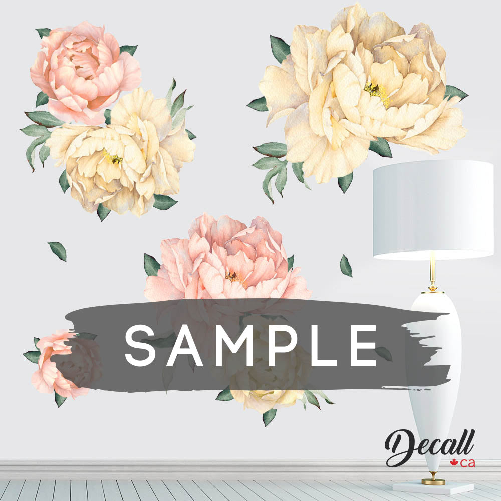 SAMPLE of Flamingo Pink & Gold Peony Flower Wall Stickers - DWS1048 - Wall-Stickers - Decall.ca