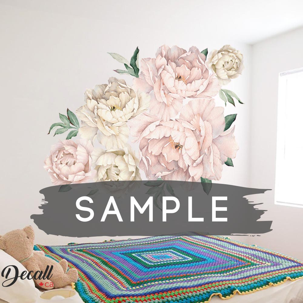 SAMPLE of Soft Pink & White Peony Flowers Wall Sticker - DWS1050 - Wall-Stickers - Decall.ca