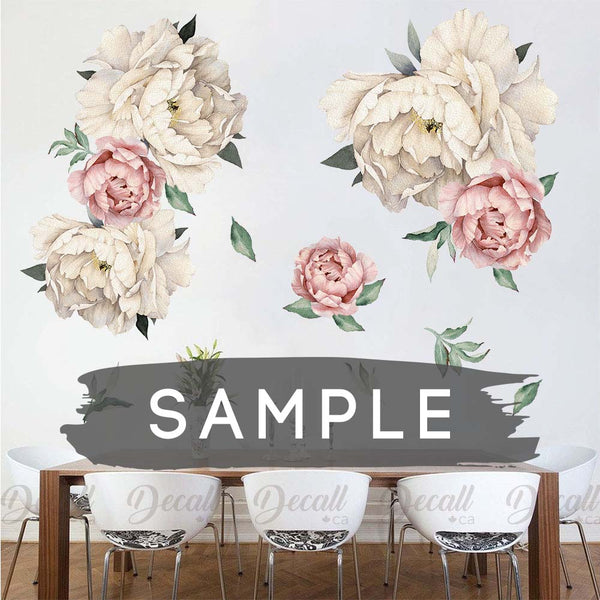 SAMPLE of White and Pink Peony Flowers Wall Sticker - DWS1040 - Wall-Stickers - Decall.ca