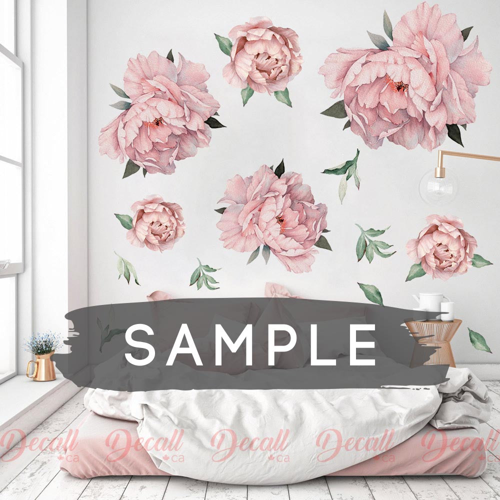 SAMPLE of Pink Peony Flowers Wall Sticker - DWS1041 - Wall-Stickers - Decall.ca