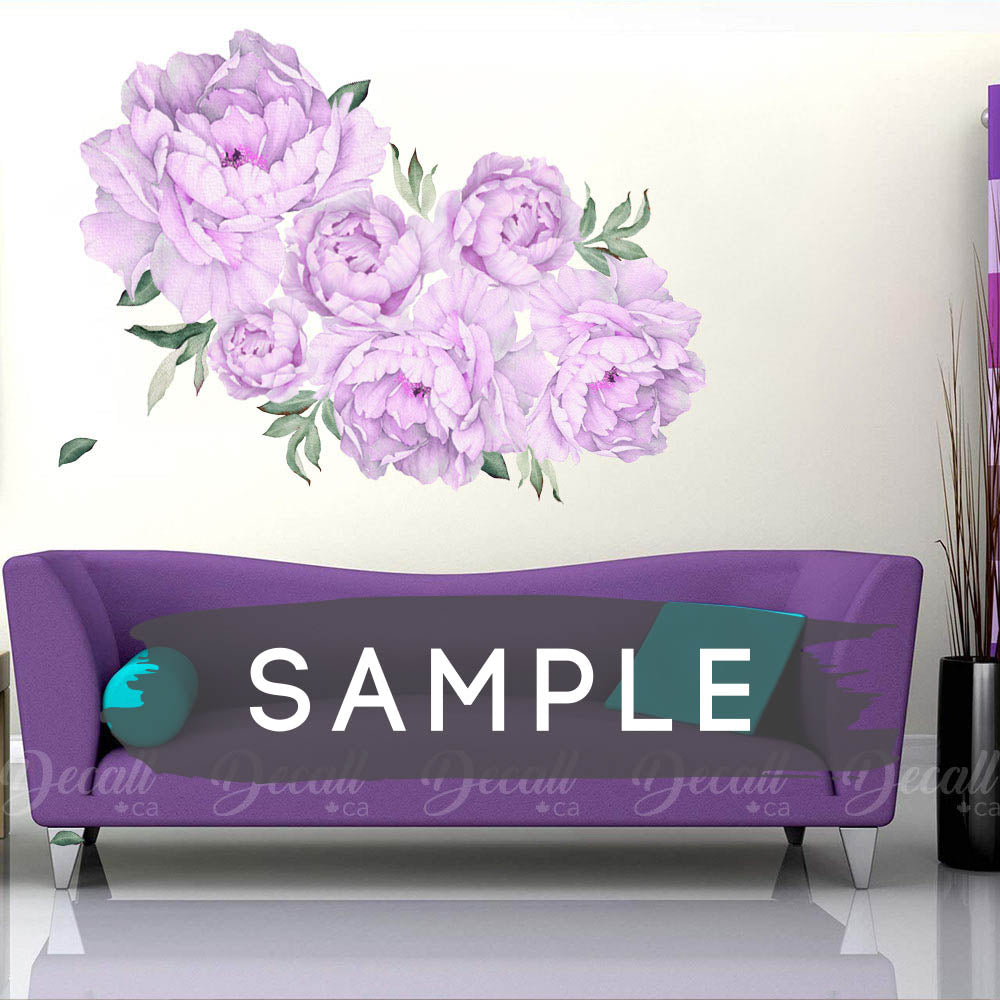 SAMPLE of Purple Lilac Peony Flower Wall Sticker - DWS1054 - Wall-Stickers - Decall.ca