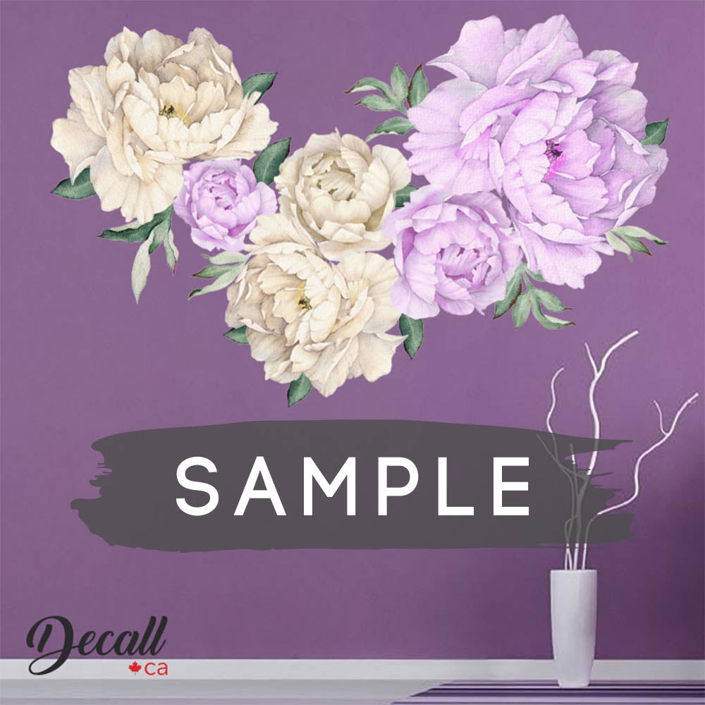 SAMPLE of Purple Lilac & White Peony Flower Wall Sticker - DWS1053 - Wall-Stickers - Decall.ca