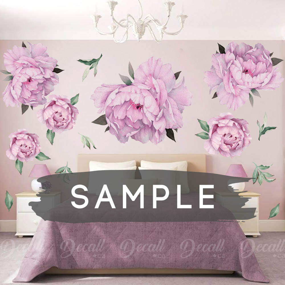 SAMPLE of Purple Peony Flowers Wall Sticker - DWS1042 - Wall-Stickers - Decall.ca