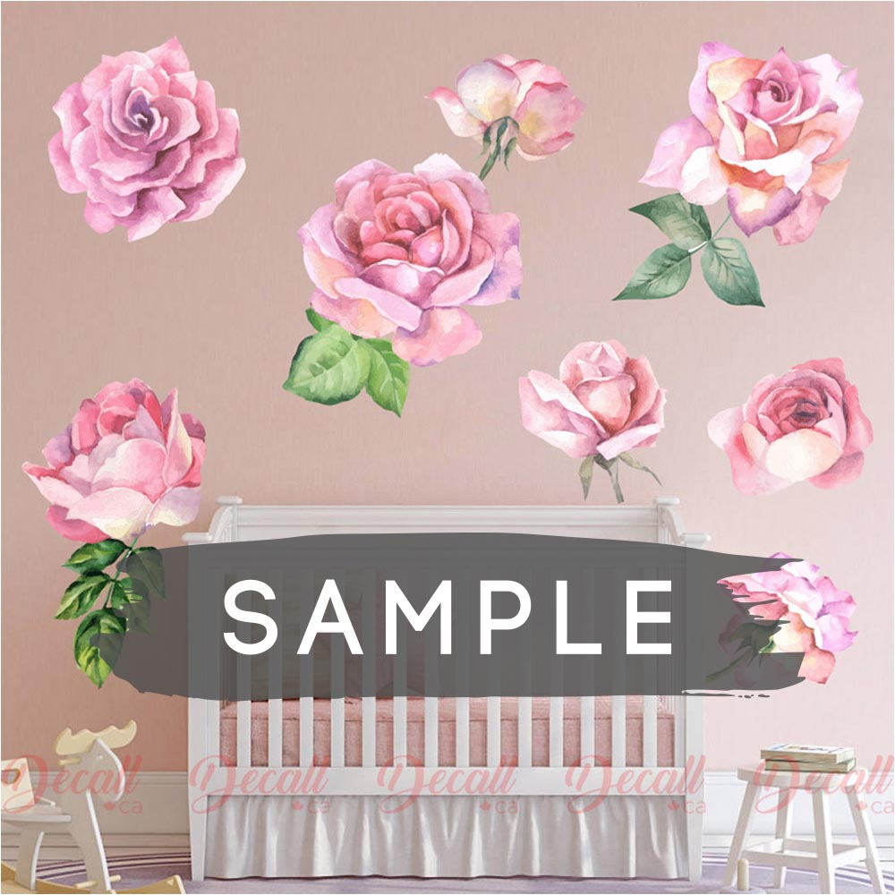 SAMPLE of Romantic Pink Roses Flower Wall Stickers - DWS1036 - Wall-Stickers - Decall.ca
