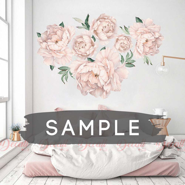SAMPLE of Soft Pink Peony Flowers Nursery Wall Sticker - DWS1049