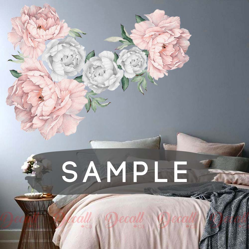 SAMPLE of Soft Pink & Silver Peony Flower Wall Sticker - DWS1051 - Wall-Stickers - Decall.ca