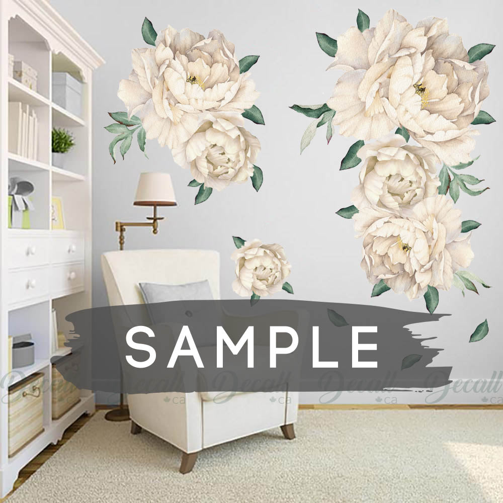 SAMPLE of White Peony Flowers Wall Sticker - DWS1043 - Wall-Stickers - Decall.ca