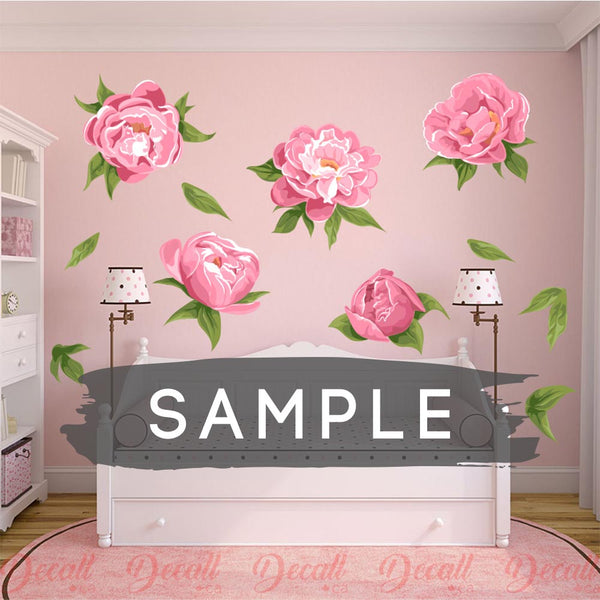 SAMPLE of Pink Fragrant Peonies Flower Wall Stickers - DWS1037 - Wall-Stickers - Decall.ca