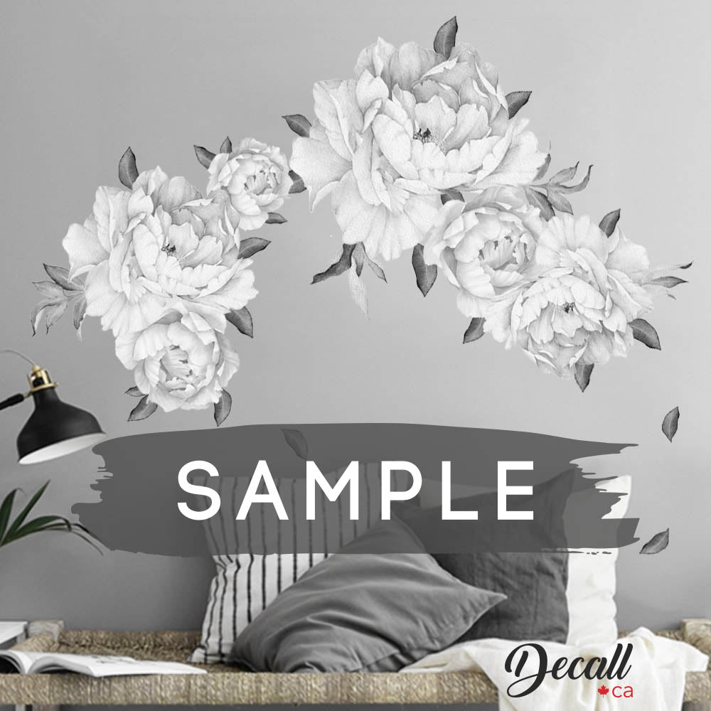 SAMPLE of Black & White Peony Flowers Wall Sticker - DWS1044 - Wall-Stickers - Decall.ca
