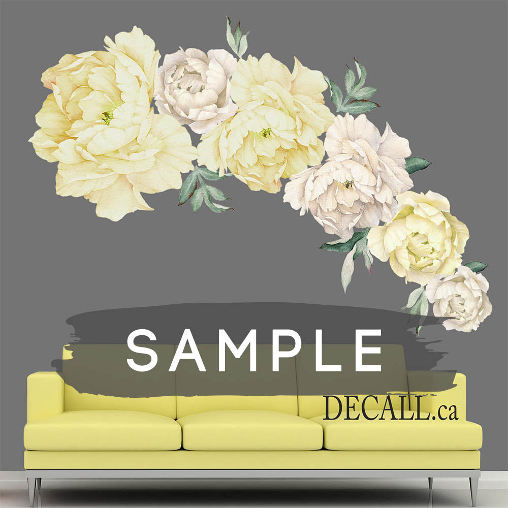 SAMPLE of White & Yellow Peony Flower Wall Stickers - DWS1061
