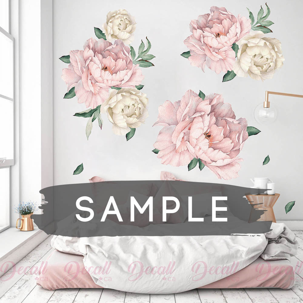 SAMPLE of Pink & White Peony Flowers Wall Sticker - DWS1045 - Wall-Stickers - Decall.ca