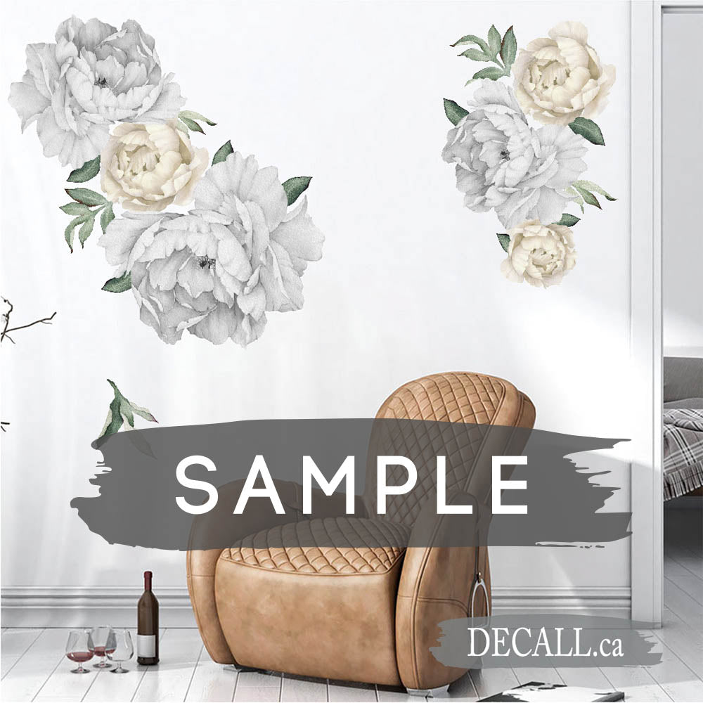 SAMPLE of Silver & Off White Peony Flowers Wall Sticker - DWS1062