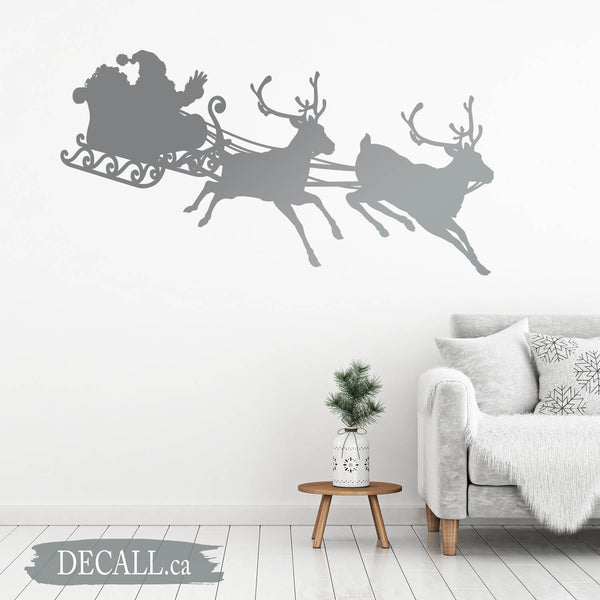 Santa Claus Sleigh Flying by Reindeers Silhouette Wall Decal D125