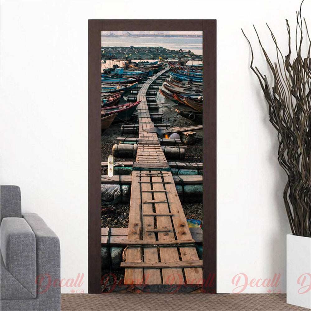 Sea Fishing Boats Door Mural - Door-Murals - Decall.ca