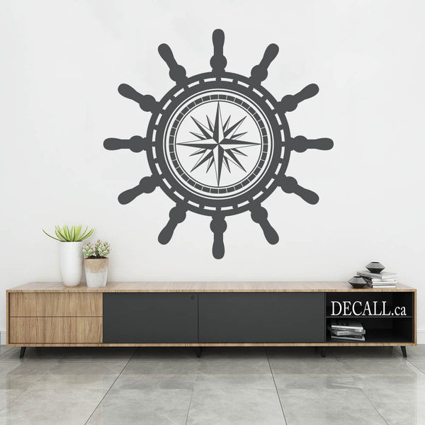 Ship Steering Wheel With Compass Wall Decal, Marine Nautical Ship Wheel Navy Wall Decal, S205