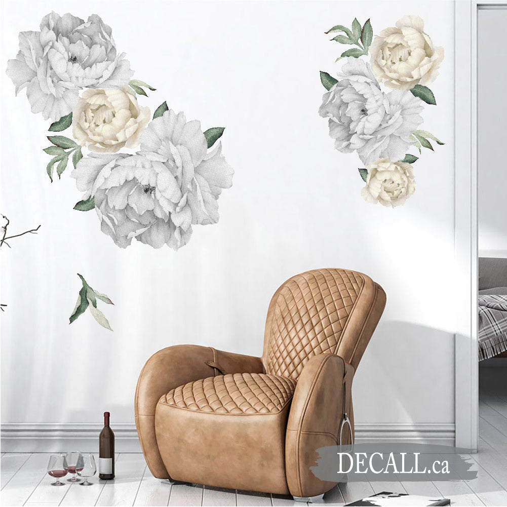 Silver & Off White Peony Flower Wall Stickers - Reusable Peel & Stick Stickers - DWS1062