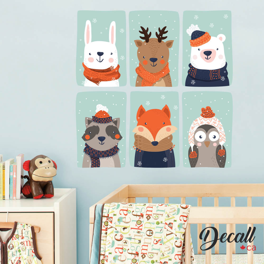 Six Cartoon Animal Kids with Winter Clothes - Kids Wall Mural Stickers