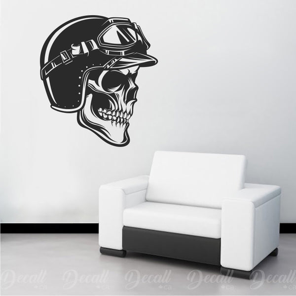 Skull Motorcycles Biker with Helmet Wall Decal - Wall-Decals - Decall.ca