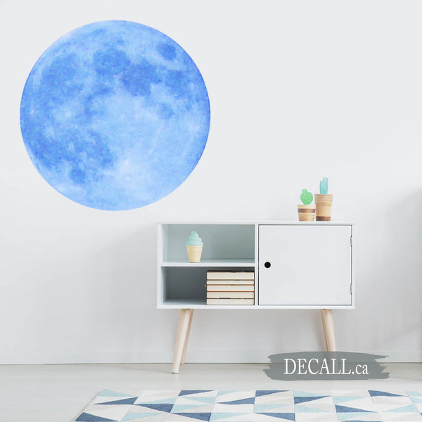 Sky Blue Full Moon Space Wall Sticker DWS1158