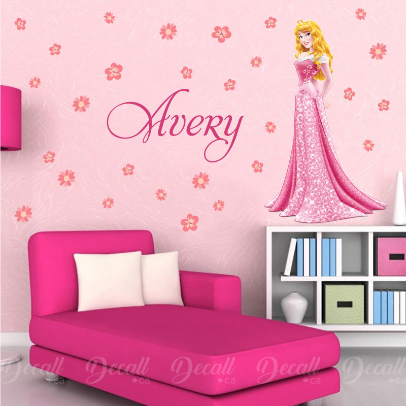 Sleeping Beauty Princess Aurora - Custom Name and Flowers - Disney Princess Wall Sticker - Wall-Stickers - Decall.ca