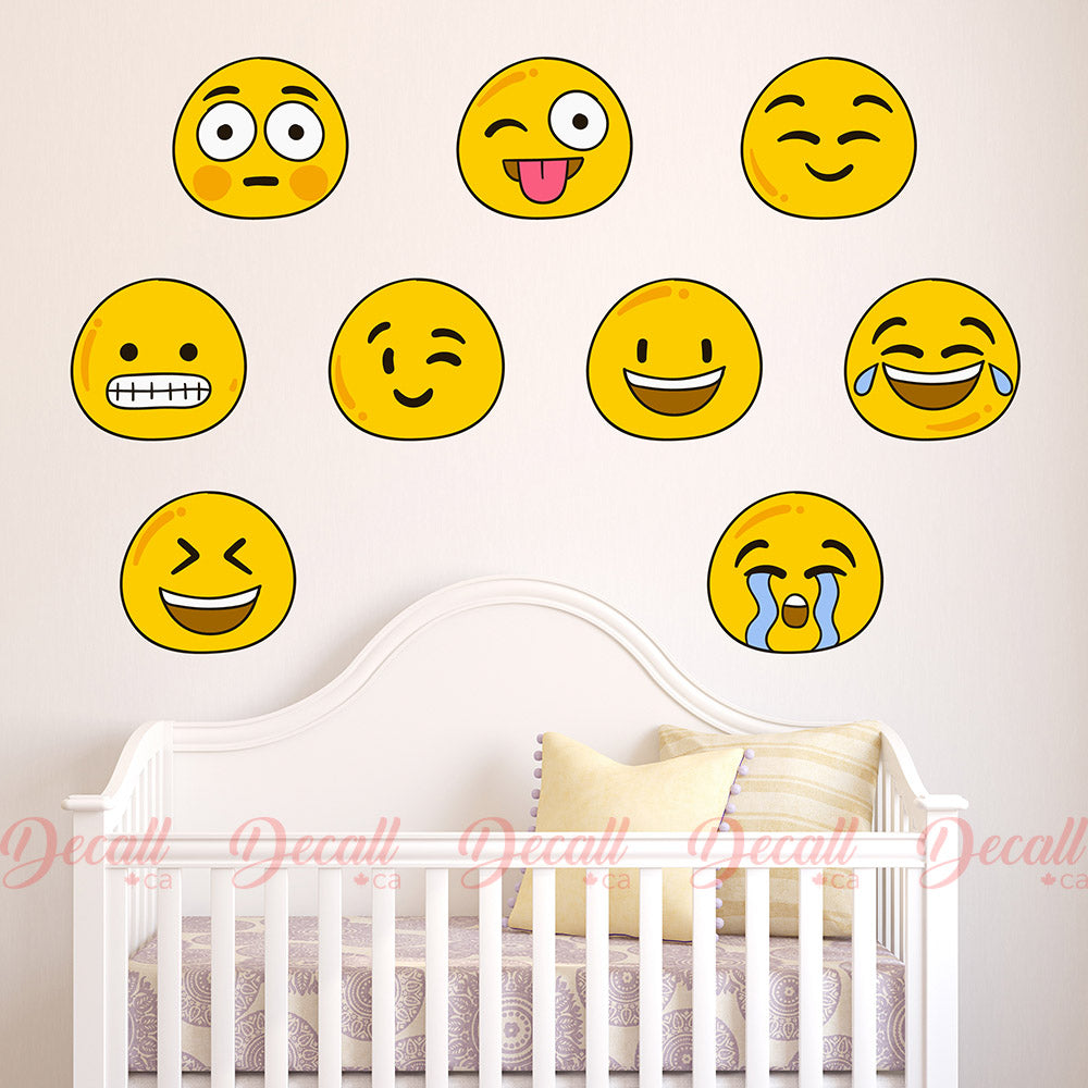 Smiley Face Emojis Reusable Fabric Wall Stickers - Wall-Stickers - Decall.ca