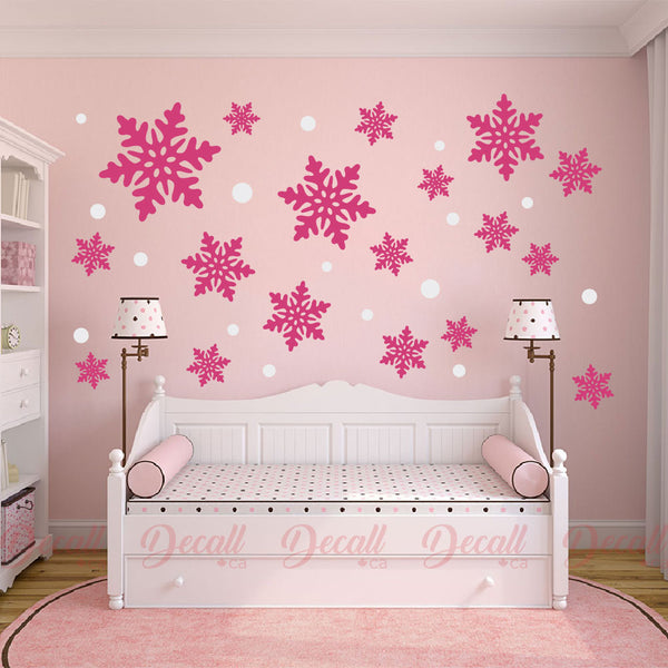 Snowflakes & Dots Wall Decal - Reusable Peel & Stick Wall Sticker - Wall-Stickers - Decall.ca
