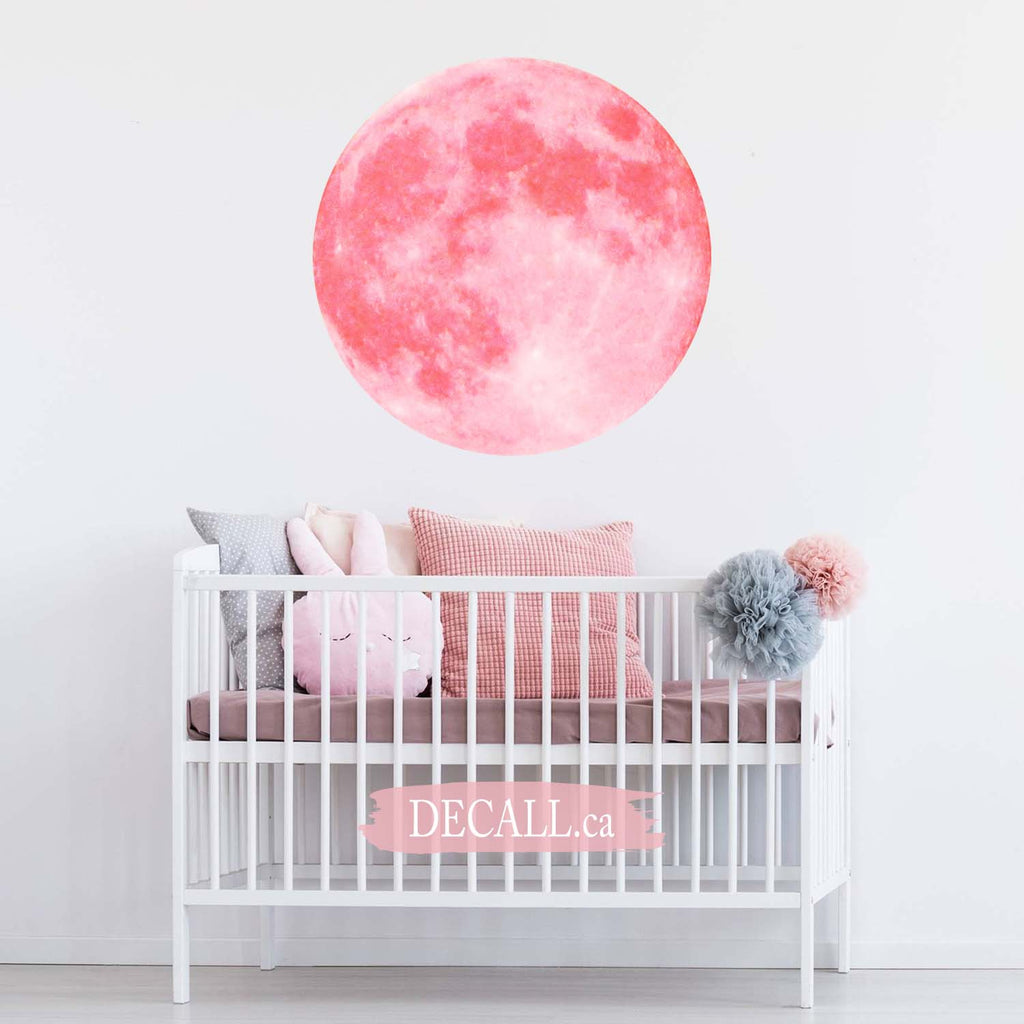Soft Pink Full Moon Space Wall Sticker