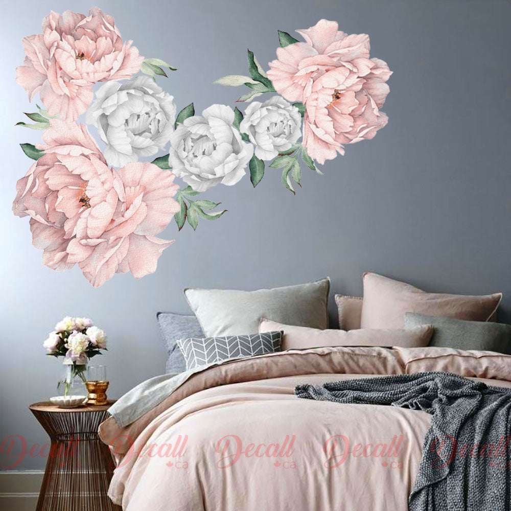 Soft Pink & Silver Peony Flower Wall Sticker - Peel & Stick Reusable Flower Decals - DWS1051 - Wall-Stickers - Decall.ca