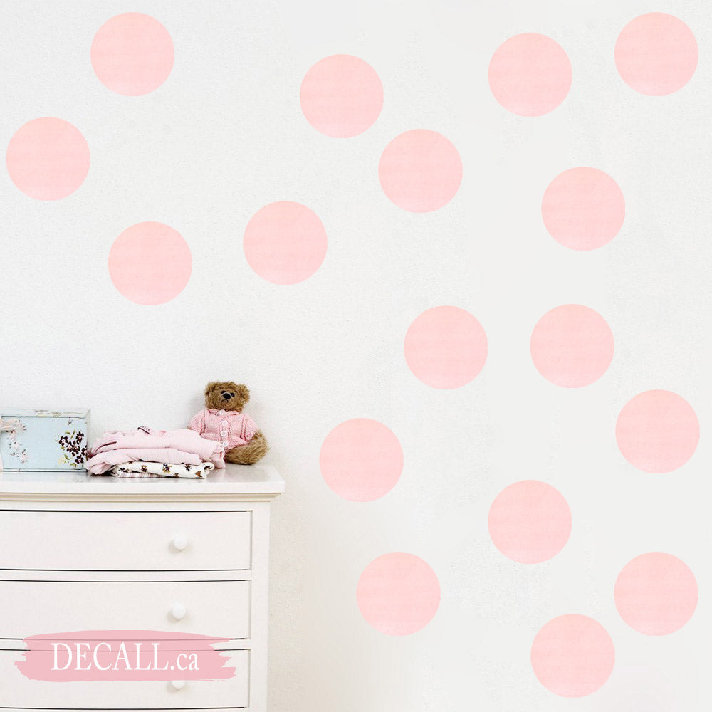 Soft Pink Watercolor Dots Wall Decals - Polka Dots - Reusable Wall Stickers - DWS1153