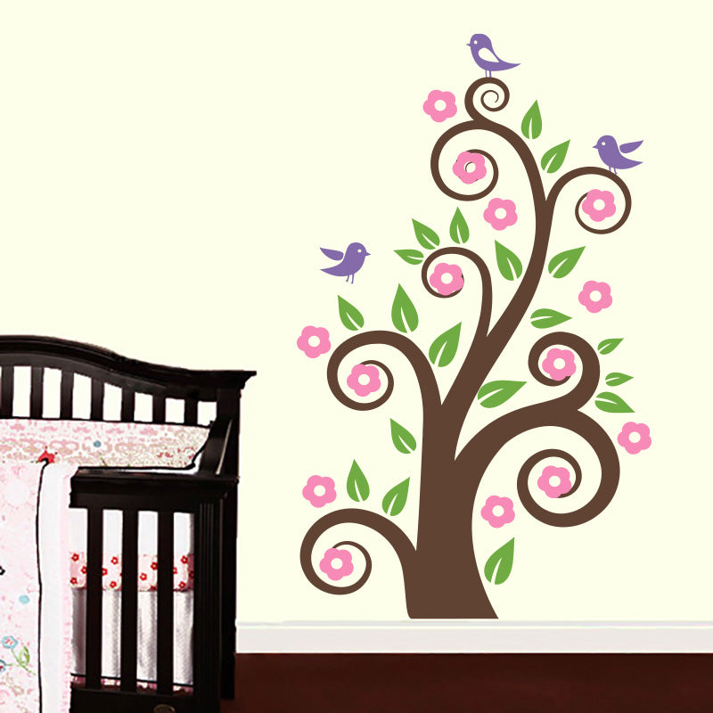 Spring Swirly Branch With Cute Birds - Wall Decals Stickers - Wall-Decals - Decall.ca