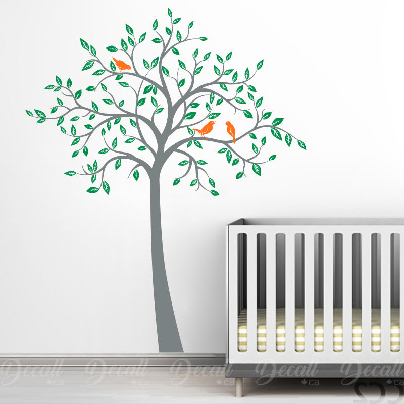 Spring Tree With Cute Birds - Nursery Wall Decals Stickers - Wall-Decals - Decall.ca