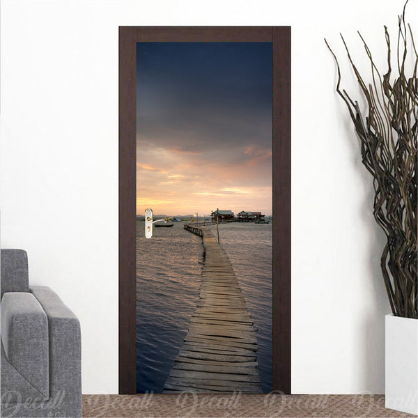 Sunset on Wood Bridge Door Mural - Door-Murals - Decall.ca