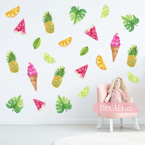 Sweet Summer with Ice Creams and Fruits - Reusable Peel & Stick Wall Stickers - DWS1148