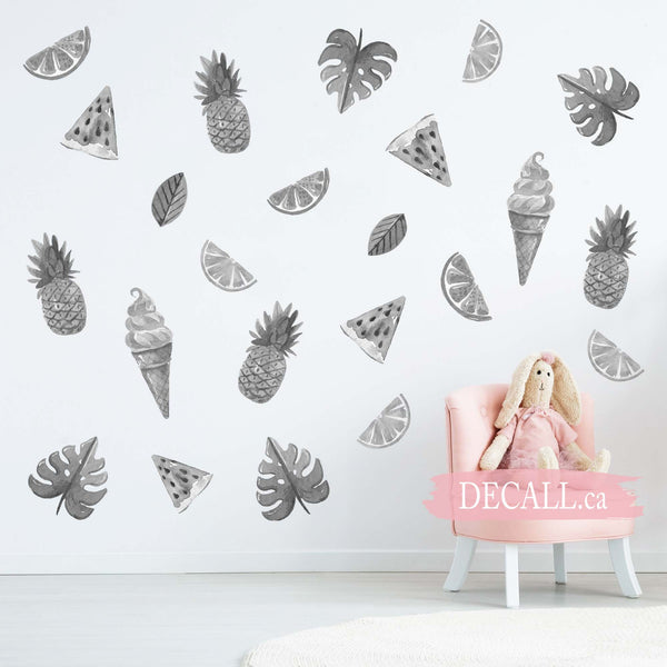 Sweet Summer with Ice Creams and Fruits Wall Stickers - Black & White - DWS1149