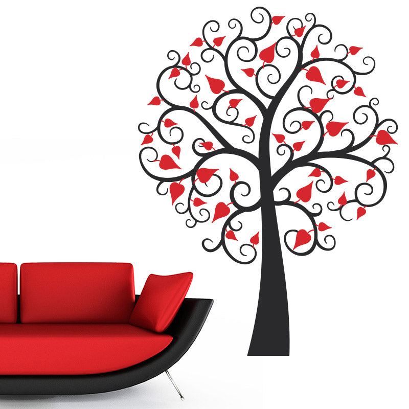 Swirly Tree With Heart Leaves - Wall Decals Stickers - Wall-Decals - Decall.ca