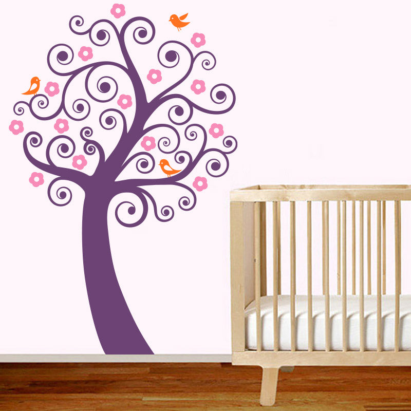 Swirly Tree with Flowers and Cute Birds - Wall Decals - Wall-Decals - Decall.ca