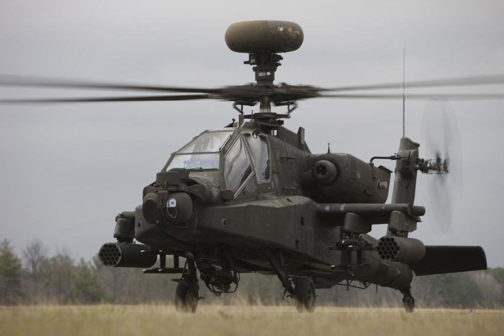 Ah-64 Apache Helicopter Runway Military Wall Mural