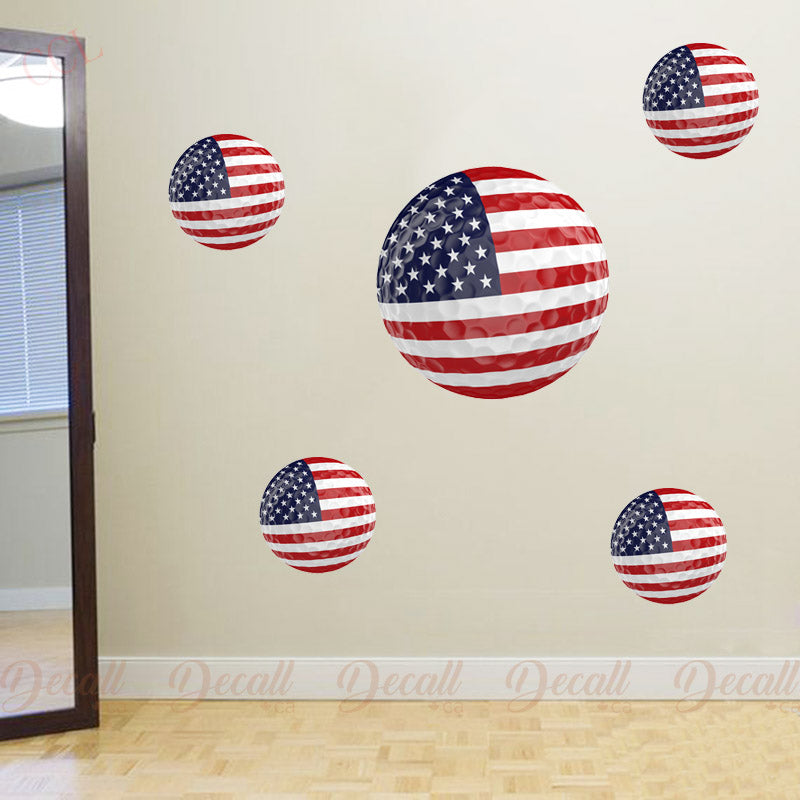 Team USA 3D Golf Ball Wall Stickers - Wall-Stickers - Decall.ca
