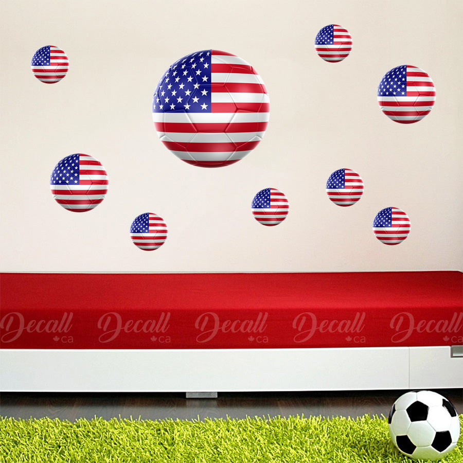 Team USA 3D Soccer Ball Wall Stickers - Wall-Stickers - Decall.ca