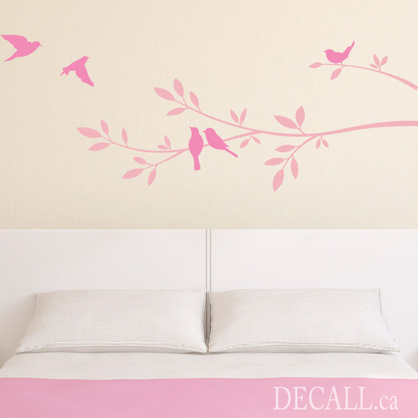 Tree Branch and Birds Vinyl Wall Decal A484