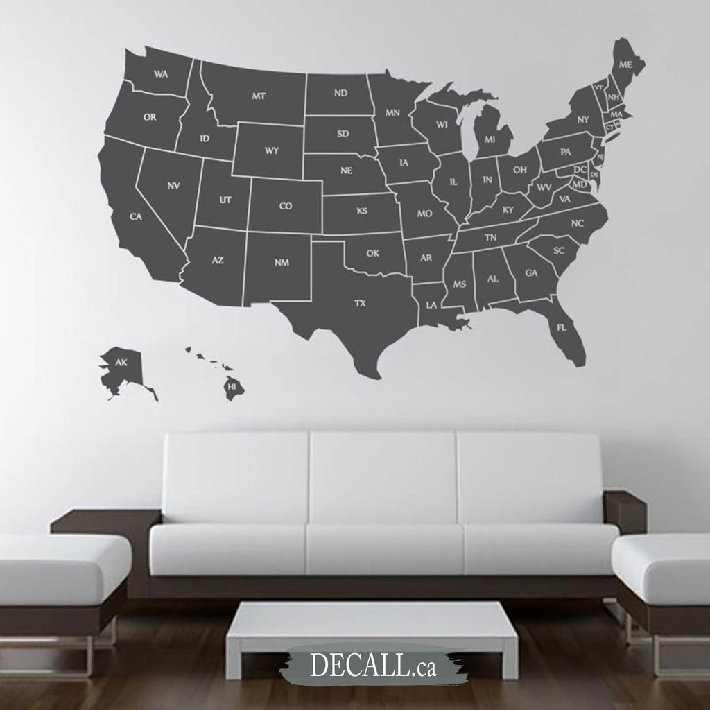 United States Map with Names of States - Map of USA showing State Abbreviations - Map Wall Decal