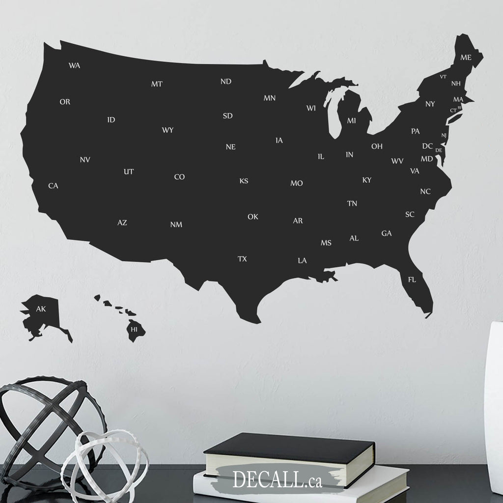 United States Map with Names of States - Map of USA showing State Abbreviations - Wall Decal