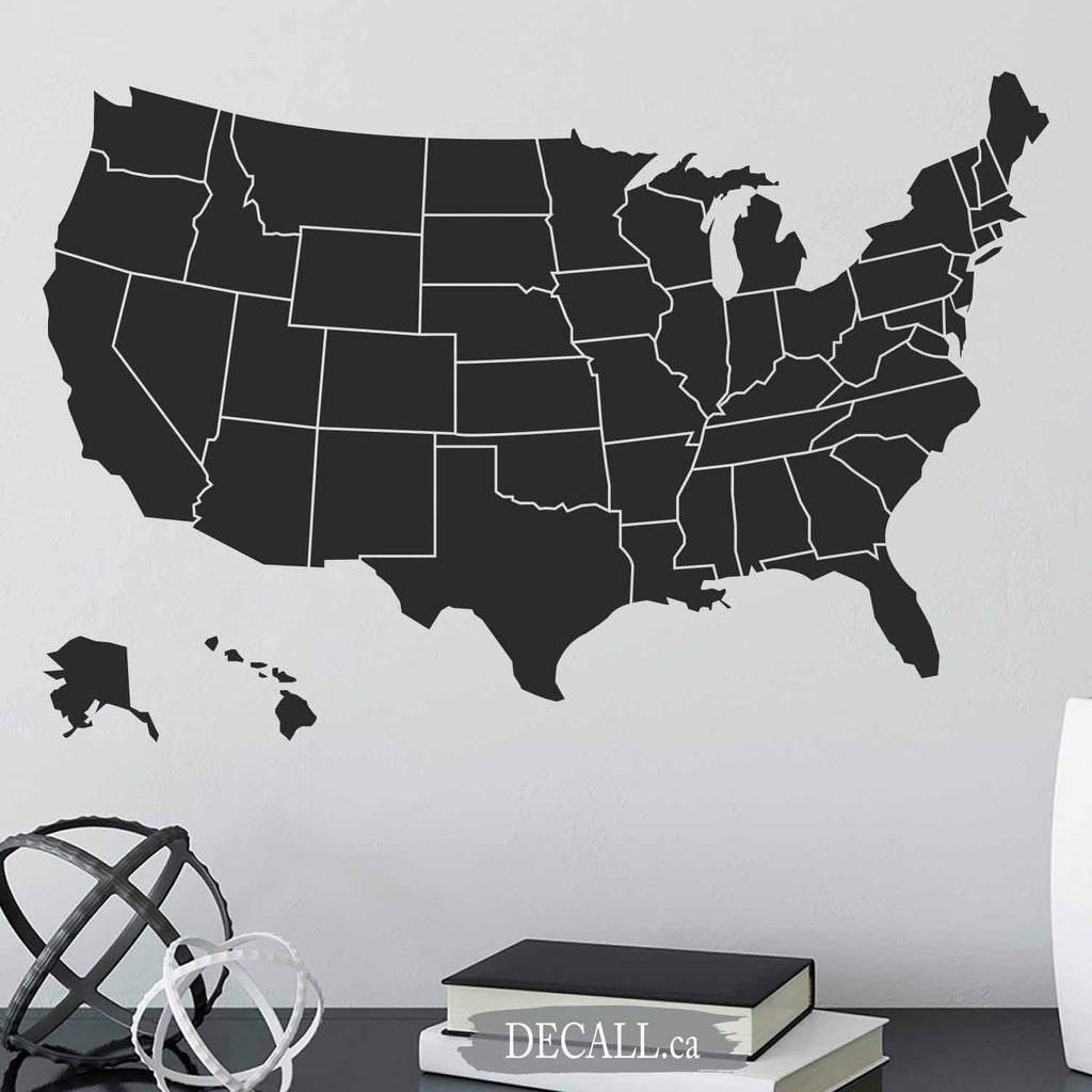 United States Map with States - Map of USA showing States - Removable Wall Decal