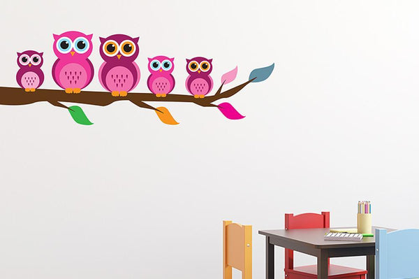 Cute Pink Owl Family Girls Wall Sticker