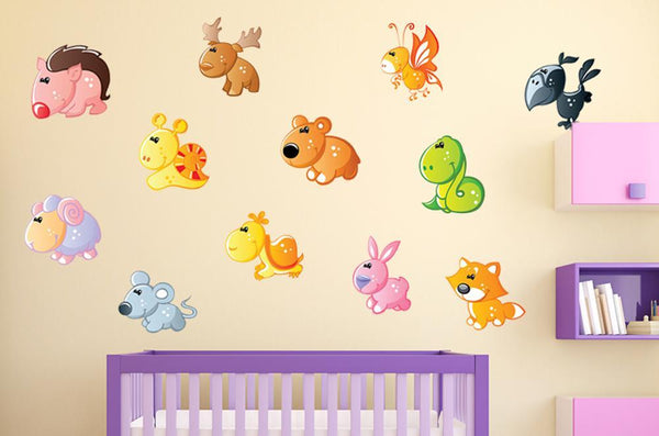 Cute Cartoon Forest Animal Nursery Wall Sticker