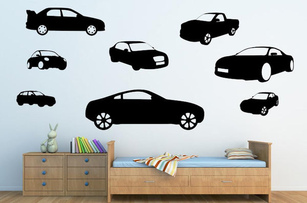 Vehicle Silhouettes Black Car Transportation Wall Mural Sticker