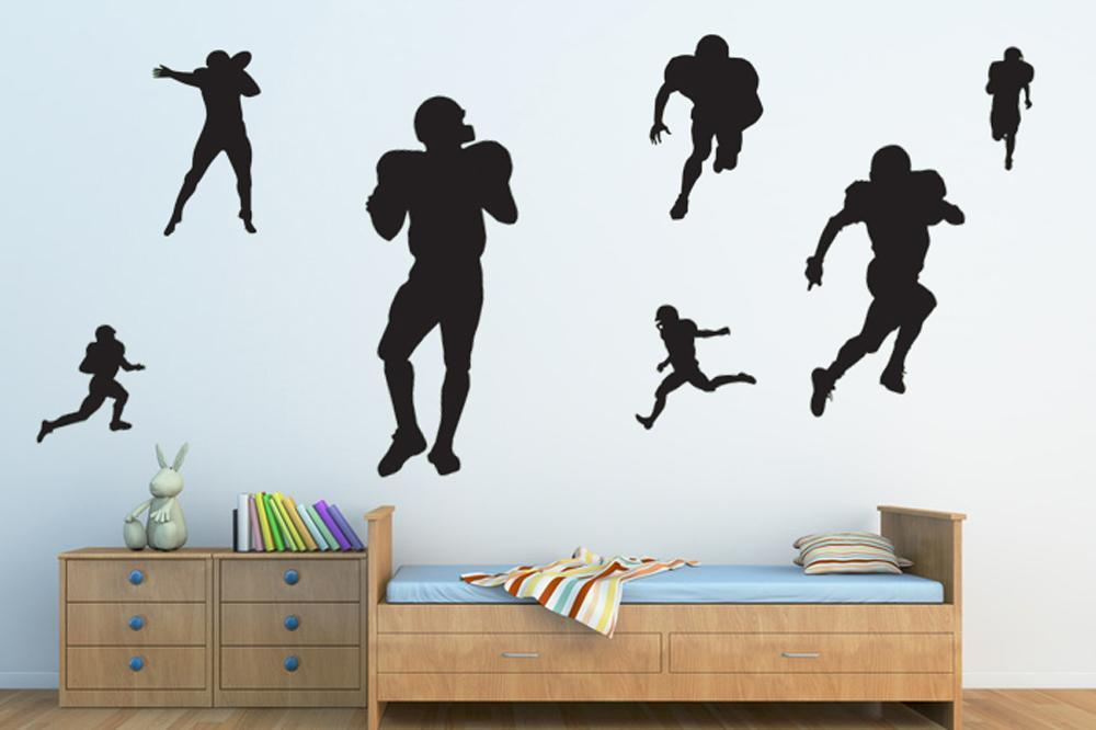 Assorted Football Player Silhouettes Sports Wall Decals