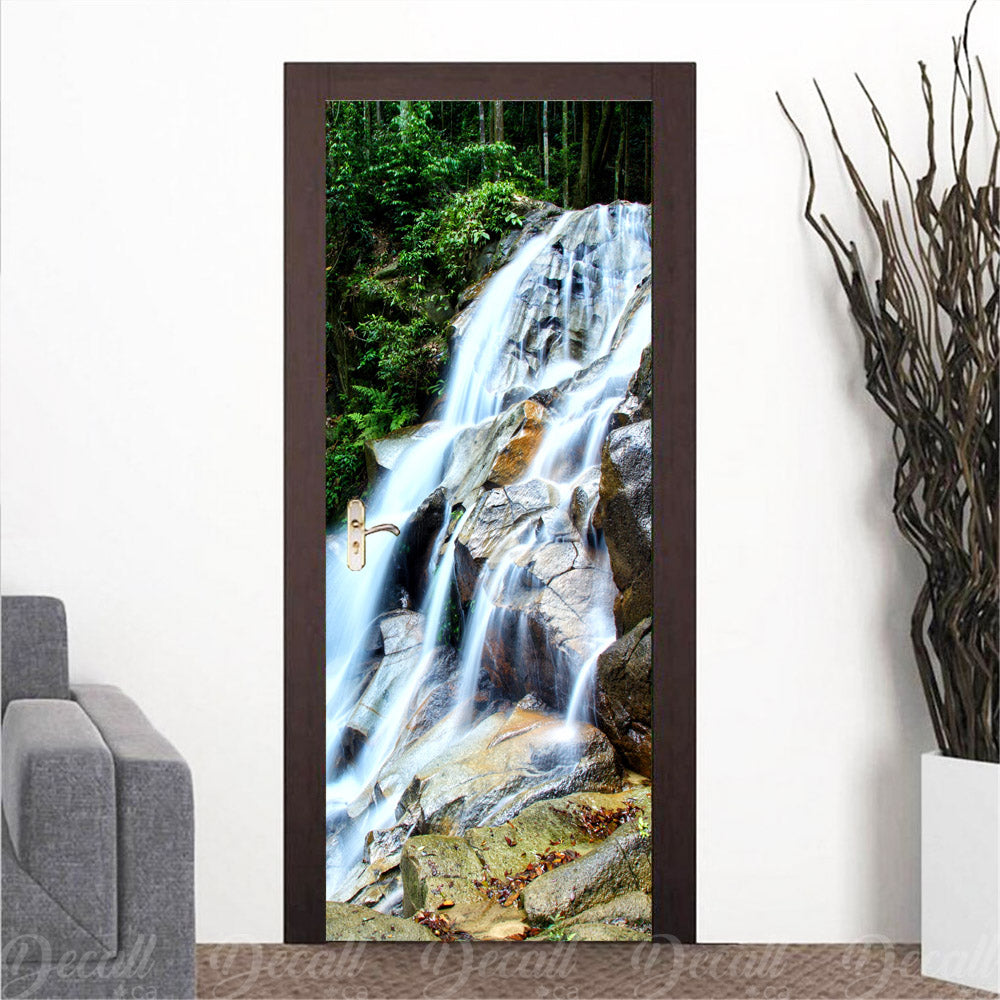 Waterfall with Rocks Door Mural - Door-Murals - Decall.ca